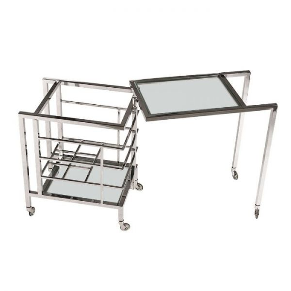 Bar Trolley 72x42x77cm With Clear Glass Stainless Steel/Glass Polished