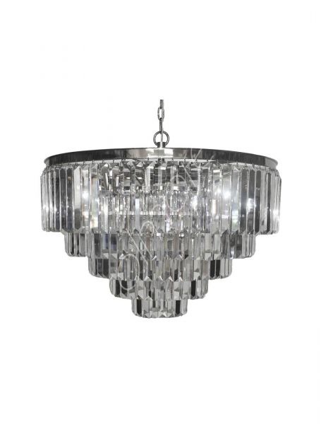 Ceiling Lamp 80x51cm Crystal Iron/Glass Nickel Finished