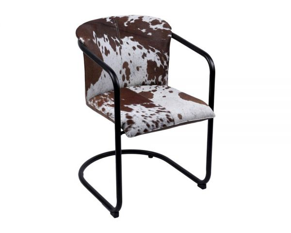 Dining chair leather hairon brown 53x61x80