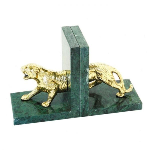 Bookend 29x10x18cm Tiger With Green Marble Antique Brass/Green Brass/Marble