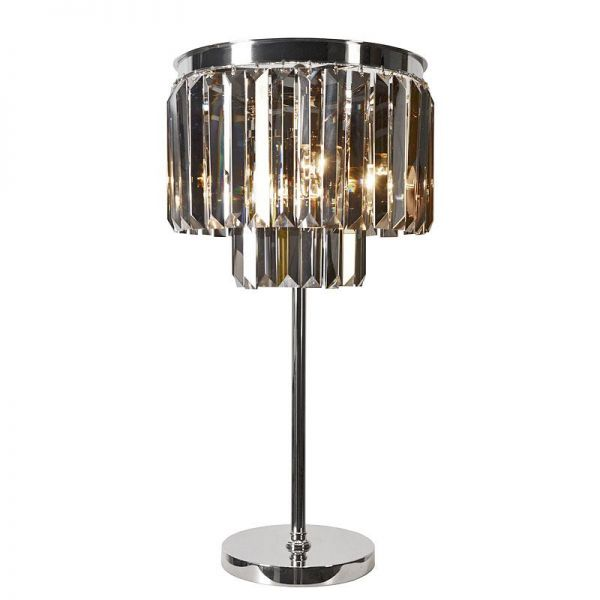 Table Lamp 40x40x71cm Smoke Crystal Iron/Glass Nickel Finished