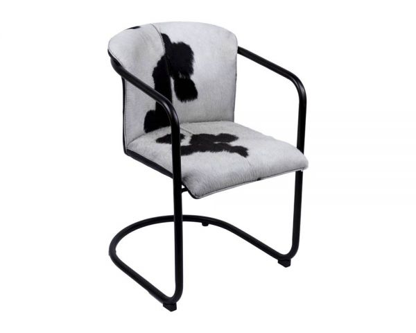 Dining chair leather black hairon 53x61x80
