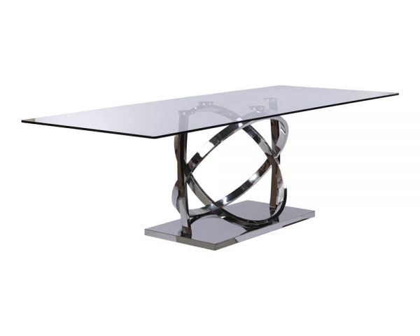 Dining table ss w/glass 240x100x76