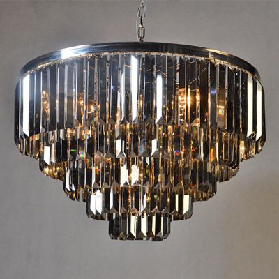 Ceiling Lamp 80x51cm Smoke Crystal Iron/Glass Nickel Finished